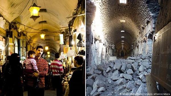 Osmanlı mirasını en güzel yansıtan tarihi şehirlerde biri olan Halep, neredeyse tamamen haritadan silindi. Her gideni kendine meftun eden kadim şehrin yerinde şimdi moloz yığınları var. Bu kıyımda yok olan eserlerden biri de tarihi El-Medine Çarşısı. Çarşı, 2012'den bu yana kullanılamaz durumda. Yapımı 14'üncü yüzyılda tamamlanan El-Medine Çarşısı, taş koridorları ve ahşap binalarıyla Ortaçağ'da Halep'i ziyaret eden tüccarların da seyyahların da göz bebeğiydi. Savaştan önce 1000'e yakın dükkânıyla çarşı göz kamaştırıyordu.