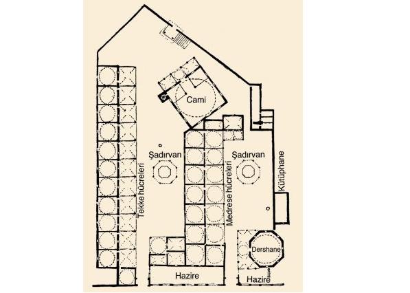 6)Çorlulu Ali Paşa Medresesi-1707  Medresenin girişi dikdörtgen planlı bir avluya açılmaktadır. Sekiz adet kare planlı ve revaklı hücresi, sekizgen planlı başodası ve kare planlı bir kütüphanesi bulunur.