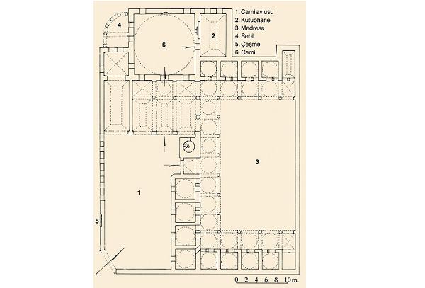 7)Beşir Ağa Medresesi-1745  Cami, kütüphane, sebil ve medreseden oluşan külliye, Türk mimarisinde Batı etkisiyle ortaya çıkan sanat akımının ilk eserlerindendir. Dikdörtgen planlı medresenin 15'i kare planlı ve kubbeli, ikisi tonozlu ve dikdörtgen planlı 17 hücresi bulunmakta.