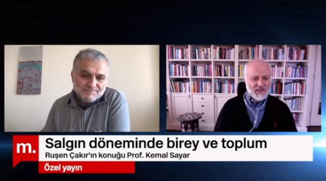 """Gazeteci Ruşen Çakır, 4 Nisan 2020 tarihinde Medyascope'da Prof. Dr. Kemal Sayar ile önemli bir söyleşi gerçekleştirdi. Saat 16.00'da başlayan söyleşiyi sosyal medyadan canlı olarak izlemek mümkündü.  """"Salgın döneminde birey ve toplum"""" başlığını taşıyan sohbette Ruşen Çakır, misafirine pandemi sürecinin toplum ve insan üzerindeki olumsuz etkilerine, covid-19 sonrasında yaşanabilecek muhtemel sorunlar ve değişimlere dair dikkate değer sorular yöneltti."""