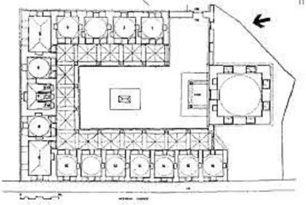 3)Caferağa Medresesi-1559 (Mimar Sinan)  Basık kemerli bir kapıdan girilen medrese, inşa edildiği tarihte 15 hücre ve başodadan oluşmaktaydı. Dikdörtgen plan şemasına göre inşa edilmiş olup dörtgen bir avluya sahiptir. Hücreler avlunun etrafına dizilmiş eyvanlardan oluşmaktadır