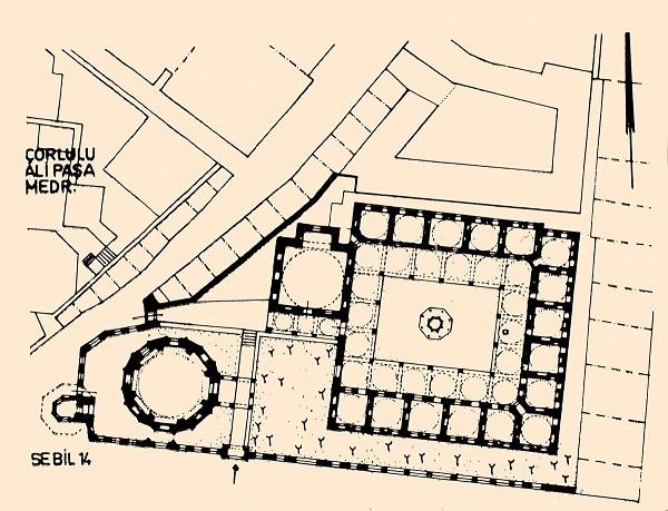 5)Sinan Paşa Medresesi-1593 (Mimar Davut Ağa)  Medrese dikdörtgen şeklindeki bir iç avluyu dört yönden kuşatmaktadır. Başodası ile asimetrik yerleştirilmiş on altı hücreden meydana gelmektedir. Dış ve iç avludan oluşan yapı, mekânlar arası kademeli geçiş ve hiyerarşi yaratıyor.