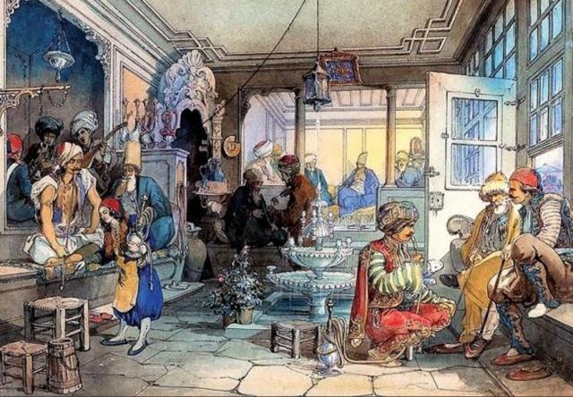 Bir kahvehanede:  Her seherde besmeleyle açılır dükkânımız Hazreti Şazelî'dir pirimiz, üstadımız  Bu kahve öyle bir kahvedir ki her usulü bâ sefa İçinde sâkin olanlar çekmesün asla cefa