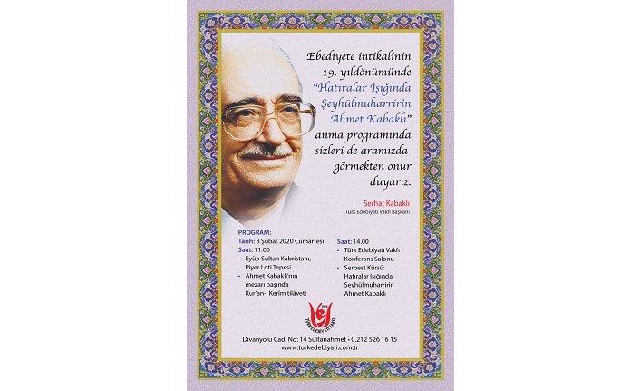 Ahmet Kabaklı'yı anma programı