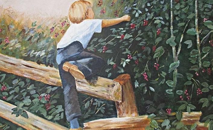 Ağaç, kiraz, kuş ve çocuk