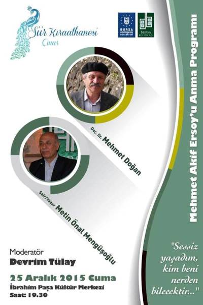 Bursa'da Mehmet Âkif Ersoy anılacak