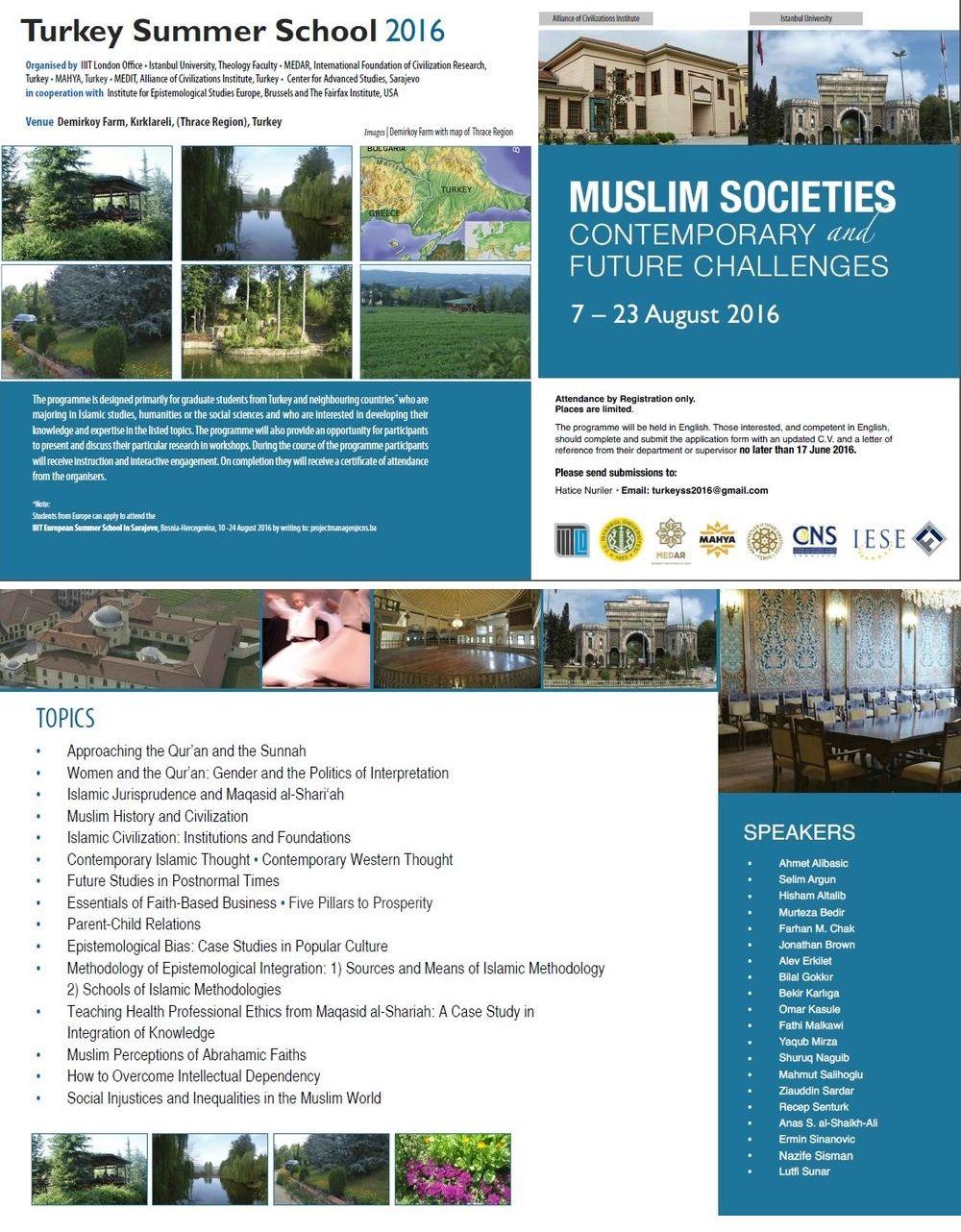 'Müslüman Toplumlar: Günümüz ve Gelecek Meseleleri' Yaz Okulu