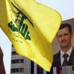 Önde Hizbullah Bayrağı, arkada Beşar Esed