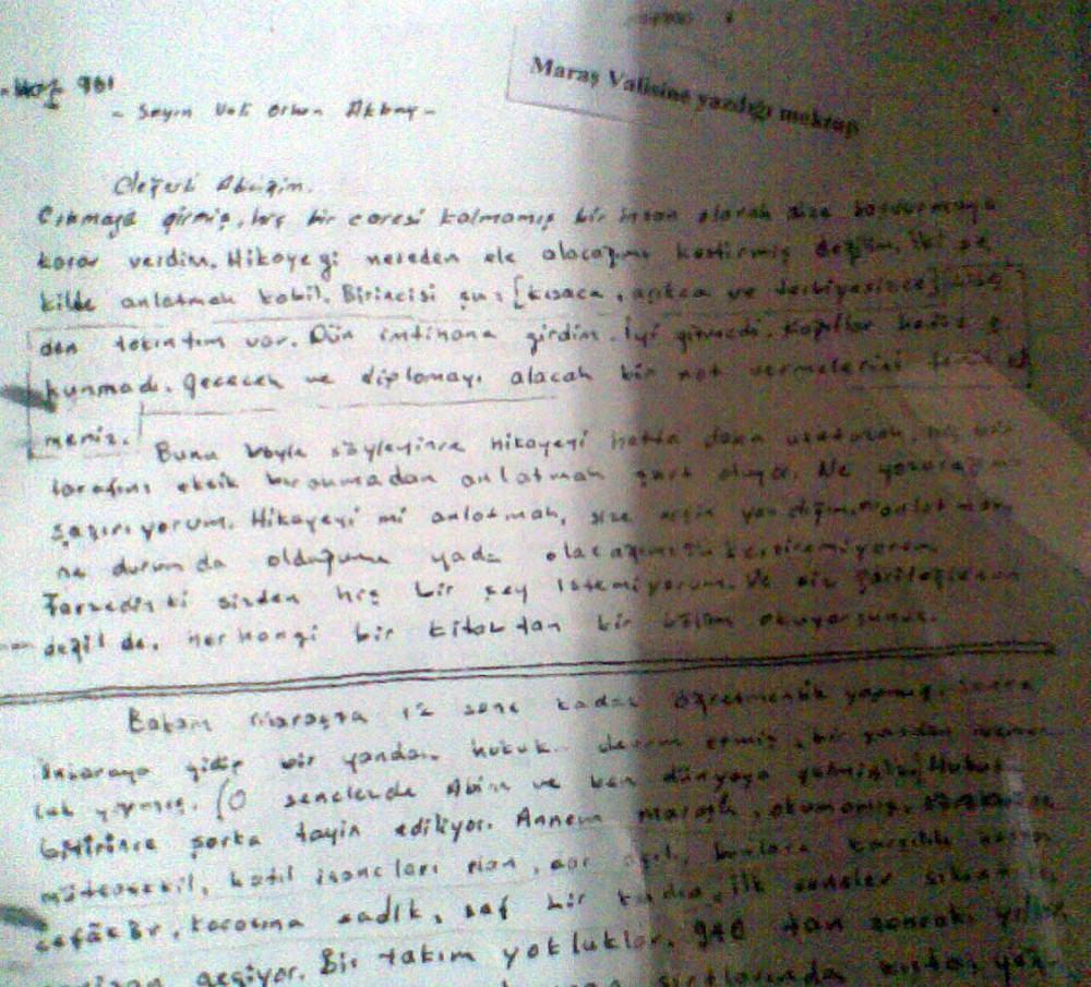 Cahit Zarifoğlu'nun mektubu