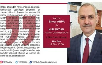 """Doç. Dr. Enver Arpa ile""""Kur'an'dan Hayata Dair Masajlar"""" konuşulacak"""