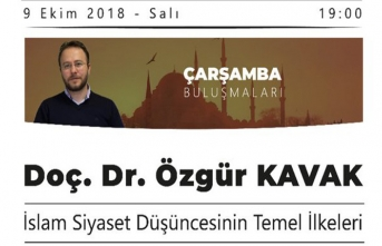 """Özgür Kavak ile """"İslam Siyaset Düşüncesinini Temel İlkeleri"""" konuşulacak"""
