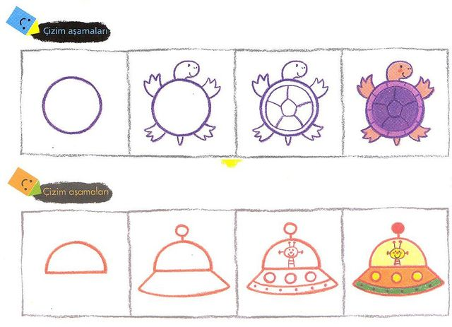 Çocuklar şekilleri bir sanat eserine dönüştürebilir