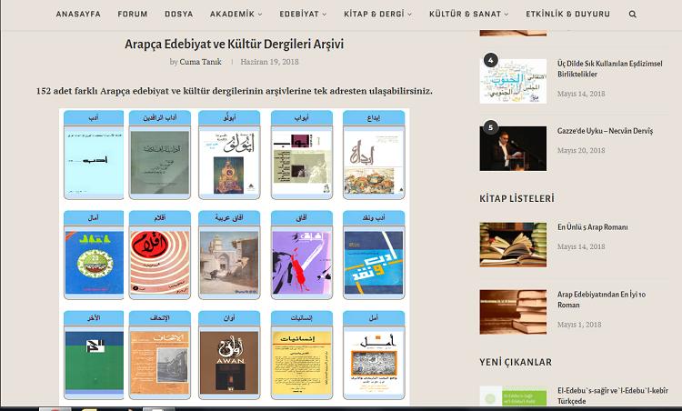 Arapça Edebiyat ve Kültür Dergileri Arşivi