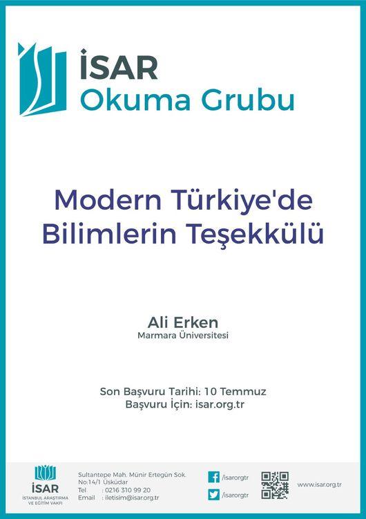 Modern Türkiye'de Bilimlerin Teşekkülü Okuma Grubu Başlıyor