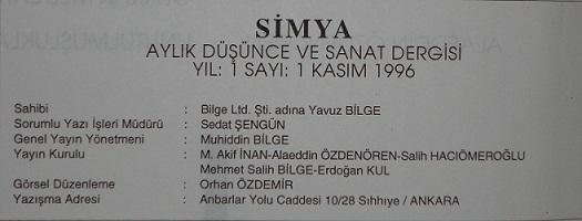 Dergicilik tarihimizden Simya da gelip geçti