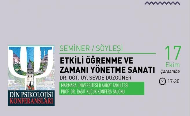 """""""Etkili Öğrenme ve Zamanı Yönetme Sanatı"""" semineri"""
