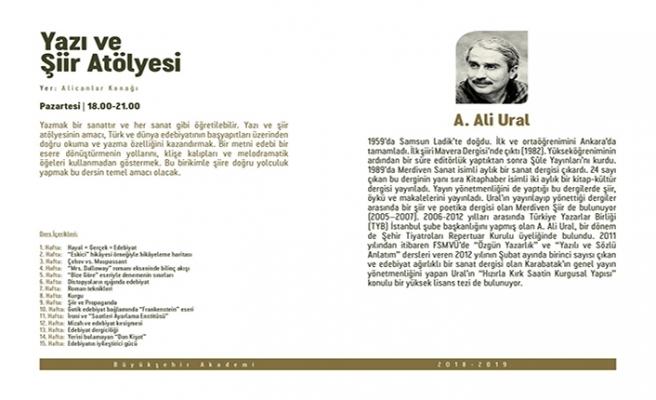 """A. Ali Ural ile """"Yazı ve Şiir Atölyesi"""""""