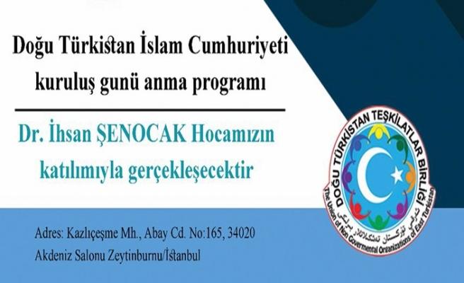 Doğu Türkistan İslam Cumhuriyeti kuruluş günü anma programı