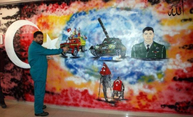 15 Temmuz, Tokat'ta Okul Duvarlarına Resmediliyor